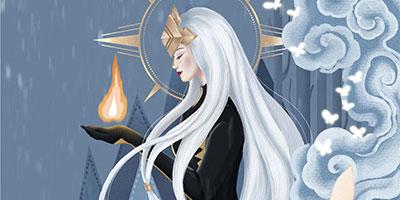 光遇高清壁纸:寂静神庙中的女神