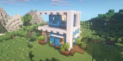 我的世界双层蓝色小楼房图文教程